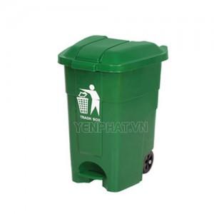 Thùng rác nhựa 70 lít có bánh xe đạp chân