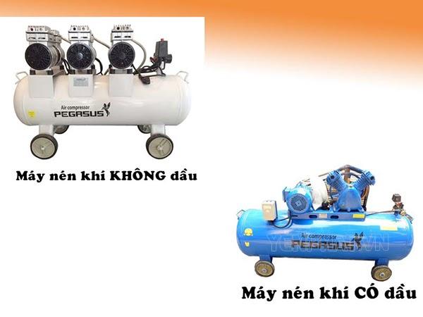 máy nén khí piston có dầu và không dầu