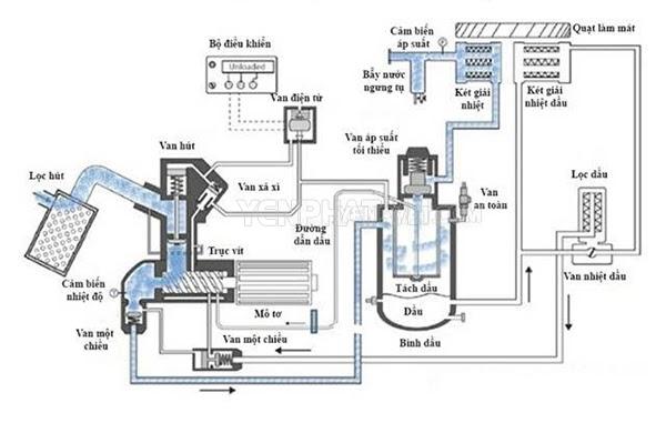 nguyên lý máy nén khí trục vít