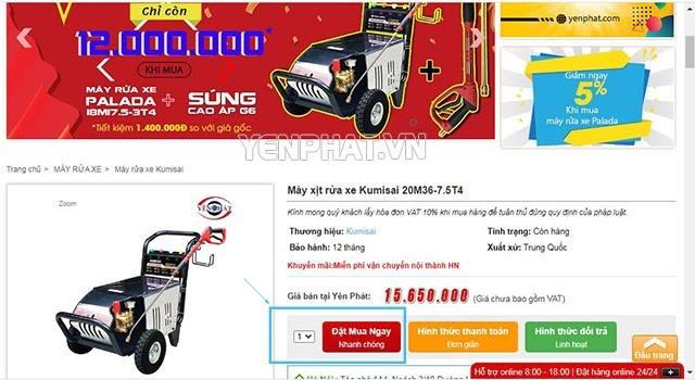 Hướng dẫn mua hàng online tại Yên Phát