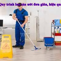 Quy trình lau sàn ướt hiệu quả, chuyên nghiệp dễ làm nhất